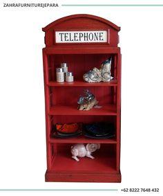 RAK LEMARI HIAS TELEPHONE LONDON VINTAGE