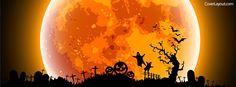 Orange Halloween Moon Facebook Cover coverlayout.com
