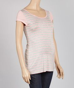 Heather Gray & Rose Stripe Maternity Tee