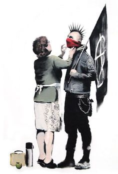 Banksy, street art. Banksy work usually has a political statement in a comical way. I love his use of red that draws attention to the bandana.: