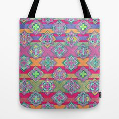 Color Pop Doodle Pattern in Peach, Pink, Purple & Emerald Green Tote Bag by micklyn - $22.00