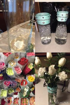 From getting vases in the dollar store, to adding ribbon and writing meaningful words on it with a metallic sharpie, to shopping in a 24/7 flower store, to completing a great amazing centerpiece all done naturally in less then $5-$8 a centerpiece it's amazing what you can do simple things