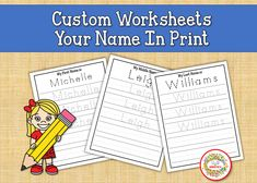 Name Tracing Worksheet, Print Name, Learn to Write Name, Print Writing, Child's Name, Personalized Worksheets, Custom Worksheets Learning To Write, Learning Resources, Teaching Ideas, Name Tracing Worksheets, Worksheets For Kids, Kindergarten Blogs, School Reviews, Learn To Spell, Teacher Organization