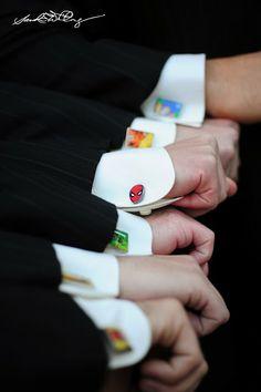Superhero cuff links, groomsmen wedding gift