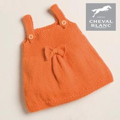 Free knitting patterncourtesy of Les Laines Cheval Blanc.Happy knitting! In addition to the knitting pattern, you will need the following material: Sizes: 0-3 mth (6-9 mth, 12-18 mth, 2 years) Yarn: Sunny 2 (3, 3, 4)balls shown in color Orange #271 Needles: 3.5 mm Add this pattern to your cart, a download link wil