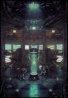 "Futuristic versions of the Norse wolves Skalli and Hati. ( ""Until the Light Takes Us // *Eimer on Deviantart) Sci Fi Kunst, Cyberpunk Kunst, Arte Sci Fi, Sci Fi Art, Sci Fi Environment, Environment Design, Spaceship Interior, Light Take, Futuristic Art"