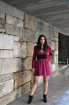 "Raquel Baptista ""Mind, Body & Soul"" Lookbook - Look10: Double ""V"" neck Dress With Velvet Details!"