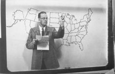 Russ Van Dyke on KRNT -TV Channel 8. Russ would report the news and weather. He had a gigantic USA map on glass and would write the daily high temps for most US cities on the map - from the back in reverse!