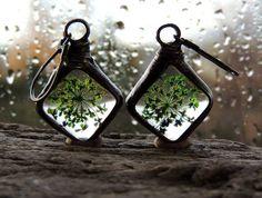 Queen Anne's Lace Earrings, green flowers earrings, flower terrarium earrings, terarium jewelry, herbarium earrings, flower earrings,