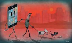 Artist Steve Cutts is a freelance illustrator based in London. He creates satirical illustrations that portray the (sad) truth about the world we live in. Art And Illustration, Technology Addiction, Illustrator, Satirical Illustrations, Strange Places, The Ugly Truth, Social Issues, Caricatures, Street Art
