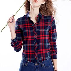 BRIOSO Women's Big Plaid Cotton Shirt Red Blue Tone BRIOSO http://www.amazon.com/dp/B00RGDWY6M/ref=cm_sw_r_pi_dp_dHkRub0N6THZ0