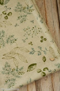 zakka shabby chic LEAVES Japanese Cotton Linen blend quilting patchwork fabric, £6.50