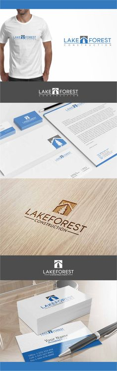 construction company Lake Forest Construction Logo and Stationery