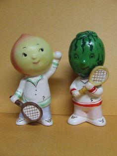 Napco Vintage Anthropomorphic Fruit Peach Watermelon Tennis Salt Pepper   eBay