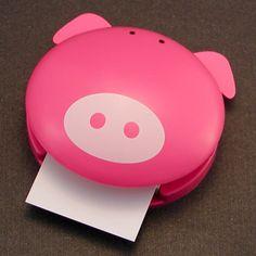 Piggy Memo Dispenser. Want this for work!