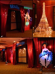 Moulin rouge party decor- lots of red curtain and lights Burlesque Theme Party, Masquerade Party, Paris Birthday Parties, 21st Party, Spa Birthday, Parisian Party, Party Decoration, Paris Theme, Nouvel An
