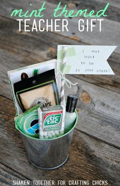 Your teacher will love this fun Mint Themed Teacher Gift - what a cute way to thank a teacher for a job well done!
