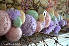yarn ball, mantel, ball garland, easter decor, easter eggs, christmas garlands, mantl, easter bunny, decor idea