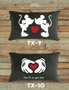 Mickey and Minnie Valentines Pillows Disney Valentines, Valentine Day Gifts, Felt Crafts, Diy And Crafts, Mickey Minnie Mouse, Disney Crafts, Decorative Pillows, Sewing Projects, Throw Pillows