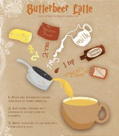 Makes some Butterbeer, (no beer, no coffee) pop in a Harry Potter movie & drink the magic! Try adding rum flavoring for hot buttered rum! Delish! Harry Potter Navidad, Harry Potter Weihnachten, Harry Potter Diy, Harry Potter Treats, Harry Potter Drinks, Harry Potter Butterbeer, Harry Potter Baking Recipes, Harry Potter Desserts, Harry Potter Marathon