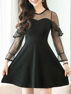 Crew Neck Sexy Lace See-Through Two-Piece Skater Dress #sexyskaterdresses #laceskaterdresses #blackdresses #womensdresses