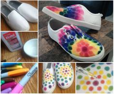 Cool Sharpie Tie Dye Shoes, have fun ! :) How to--> http://wonderfuldiy.com/wonderful-diy-cool-sharpie-tie-dye-shoes/