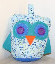Handcrafted Fabric and felt owl doorstop, cute present for dining living room, bedroom; teenage girl teenager present. Pretty blue floral