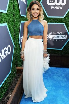Vanessa Hudgens in a denim crop top + white flowy maxi skirt