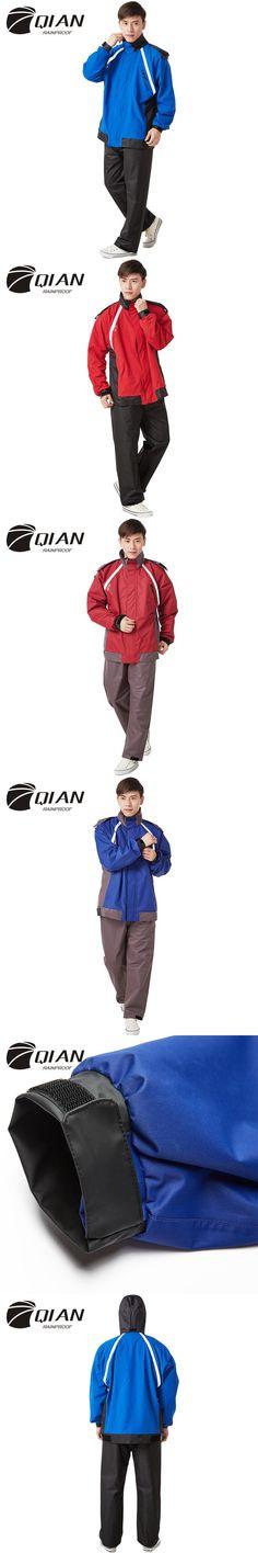 QIAN RAINPROOF Impermeable Raincoat Suit Rain Coat Outdoor Men Hood Motorcycle Raincoat Camping Fishing Women Rain Gear Poncho
