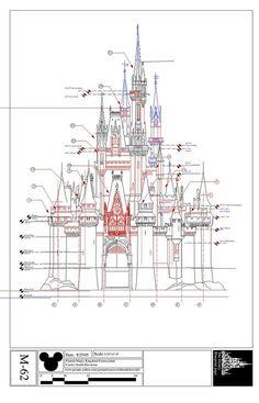 Disney Imagineering blueprints for the Cinderella Castle Disney Vintage, Retro Disney, Disney Love, Disney Disney, Disney Magic, Disney Dream, Walt Disney Imagineering, Disney Rooms, Disney Concept Art