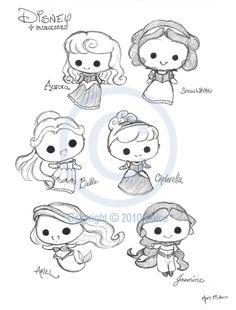 Chibi Disney Princesses by Tsukarii.deviantart.com on @deviantART