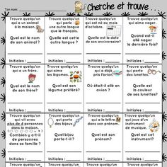 Icebreaker Seek and find 2014 2015 presentation document to students First Day Of School Activities, End Of Year Activities, French Teaching Resources, Teaching French, French Classroom, School Classroom, High School French, French Worksheets, Core French