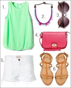 neon top + white shorts