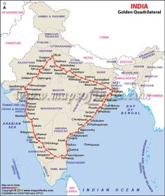 Covering a distance of 5846 km between 4 metropolis Mumbai, Kolkata, Delhi and Chennai, Golden Quadrilateral Highway surely puts you on fast lane ( literally) :) General Knowledge Book, Gernal Knowledge, Knowledge Quotes, India World Map, India Map, Ancient Indian History, History Of India, Geography Map, Geography Lessons