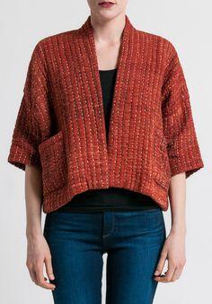 Raga Designs Cotton Kantha Bonita Jacket in Rust Kimono Fashion, Diy Fashion, Fashion Outfits, Fashion Design, Sewing Clothes, Diy Clothes, Boro, Schneider, Mode Hijab