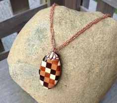 Bohemian Handmade Checkered Oval Exotic Wood Bead Pendant Twisted Copper Chain Necklace by WoodenItBeadLovely for $49.00