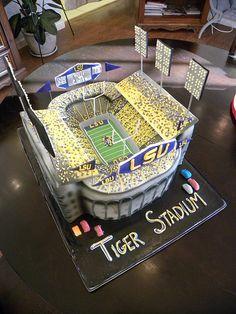 LSU Grooms Cake wedding cake college - tiger stadium