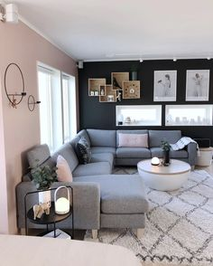 Cozy Living Room For Your Home - Living Room Design Small Living Room Design, Living Room Decor Cozy, Living Room Goals, Living Room Grey, Home Living Room, Living Room Designs, Living Spaces, Blue And Pink Living Room, Grey Room