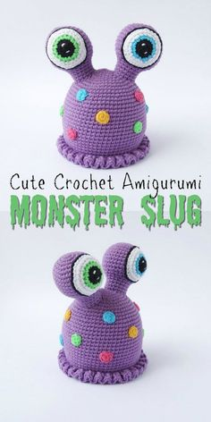 Amigurumi Crochet This is the only slug I remotely like! If only the slugs in my garden were this adorable! Part of an awesome monster pattern round up by Crochet Kids Hats, Crochet Patterns Amigurumi, Crochet Gifts, Cute Crochet, Crochet Stitches, Halloween Crochet Hats, Crochet Amigurumi, Crochet Dolls, Crochet Baby Blanket Beginner