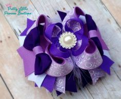 OTT Hair Bow Pearl and Shades of Purple with by ThePLPBowtique, $13.00