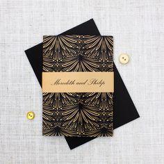 elegant art deco wedding invite in gold and black http://bemyguest.co.nz/archives/item/gold-and-black-gatefold-wedding-invitation/