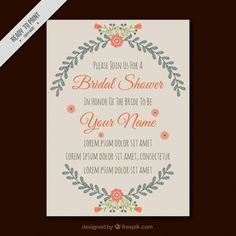 Invitation template for bridal shower with pretty flowers Free Vector