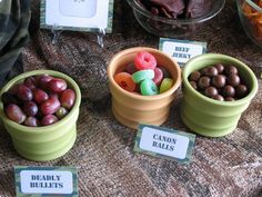 camo birthday party ideas | Lots of Army themed food. Deadly Bullets, Canon balls ….