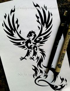 Taloned Phoenix - Tribal Design for ChrisC. Not for reuse or alteration except by client. Please contact me if you would like something similar created for your use. Japanese Pheonix Tattoo, Tribal Phoenix Tattoo, Phoenix Bird Tattoos, Larry Tattoos, Star Tattoos, Tribal Tattoos, Tribal Drawings, Tattoo Design Drawings, Dragon Tatoo