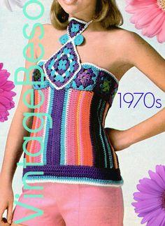 INSTANT DOWNlOAD  PdF Pattern  Halter Crochet Pattern Retro