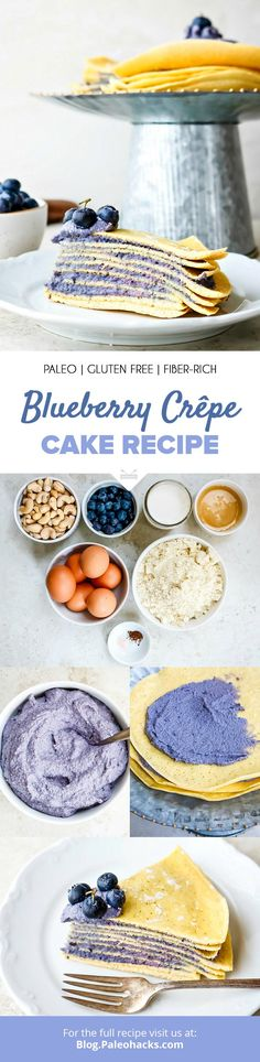 Add a dreamy twist to your breakfast with this Blueberry Crêpes Cake recipe stacked with layers of blueberry cashew filling between golden-brown crêpes. Blueberry Crepes, Blueberry Oatmeal, Delicious Breakfast Recipes, Paleo Breakfast, Paleo Dessert, Dessert Recipes, Pancake Recipes, Desserts, Brunch Recipes