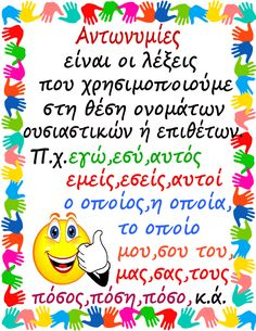 Μέρη του λόγου-Αντωνυμίες Grammar Posters, Grammar Book, School Hacks, School Projects, St Joseph, Learn Greek, Physics Experiments, Greek Language, School Themes