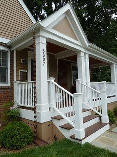 Portico and veranda with wrap-around white picket railing Screened In Porch, Porch Swing, Front Porches, Car Porch Design, Porch Kits, Porch Plans, Building A Porch, Building Plans, Porch Steps