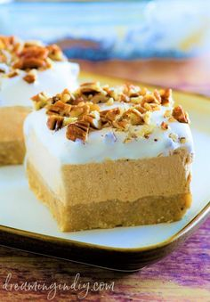 Pumpkin Spice Lush No Bake Layered Fall and Winter Dessert - Easy Recipe via Dreaming in DIY - Creamy and delicious and so easy to put together! The perfect dessert for Thanksgiving, Christmas and all your Fall and Winter Holiday dinner parties! Quick Dessert Recipes, Quick Easy Desserts, Baking Recipes, Quick Recipes, Diabetic Recipes, Pie Recipes, Casserole Recipes, Thanksgiving Desserts Easy, Winter Desserts