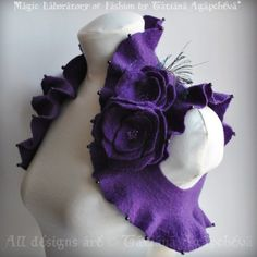 Purple Shrug / Bolero Bridal Felted /NIGHT Flight/ Roses, Peacock Swards Corsage / Brooch US Size 4 /UK Size 8